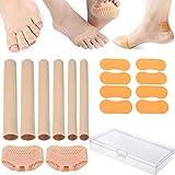 QAQGEAR Mangas de Tubos cortables para los Dedos del pie, Dolor por presión en los Dedos, removedor de Callos y Callos, con Almohadillas de Bola de pie y Pegatinas para el talón