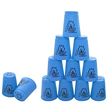 12 Pack Sports Stacking Cups Quick Stack Cups Set Speed Training Game for Travel Party Challenge Competition Blue