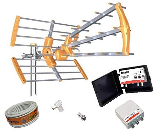 Kit Antena TV TECATEL + Amplificador 30 dB 2UHF + Fuente Alimentación 2 Salidas + Conexiones + 20m Cable TELEVES