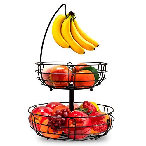 Bextsrack 2 Tier Fruit Basket Bowl with Banana Hanger for Kitchen Countertop, Detachable Fruit Vegetable Storage Holder Display for Kitchen - Black