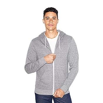 American Apparel mens Peppered Fleece Long Sleeve Zip Hoodie Hooded Sweatshirt Peppered Grey Large US