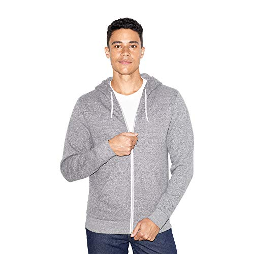 American Apparel Unisex-Erwachsene Fleece Long Sleeve Zip Hoodie Kapuzenpulli, Peppered Grey, Medium