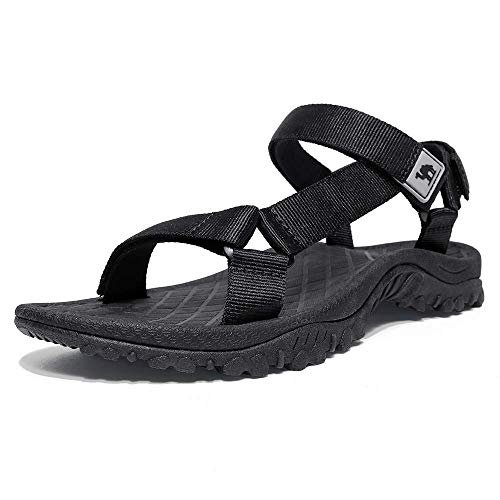 CAMEL CROWN Unisex Sandals Verstellbare Klettertrittsandalen Athletic Fisherman Hiking, Schwarz-1, Gr.- 45 EU/10 UK