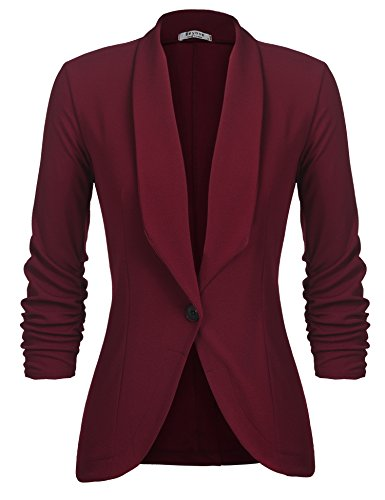 Beyove Women's 3/4 Ruched Sleeve Casual Office Jacket Slim Fit Blazer Plus Size Wine Red XL