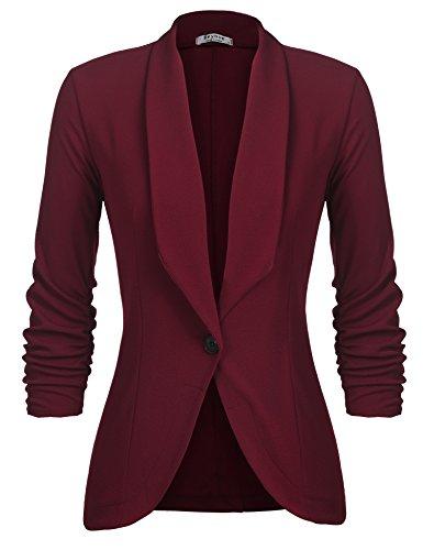 Beyove Women's Three Quarter Sleeve Solid Casual Work Office Slim One Button Short Blazer Wine Red M