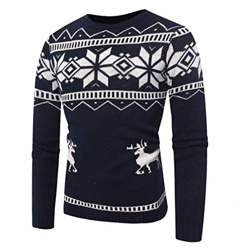 Legogo Herren Runden Kragen Langärmelige Herbst und Winter Mode Sweatershirt(XL,dunkelbau)