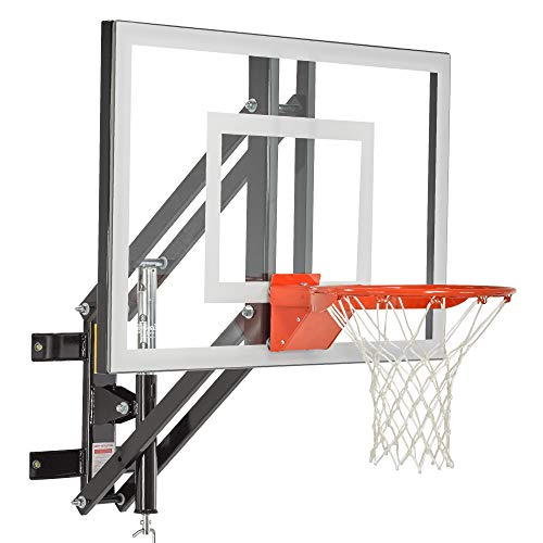 Goalsetter GS72 Wall Mounted Adjustable Basketball System with 72-Inch Glass Backboard and Flex Rim