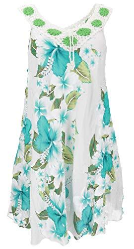 Guru-Shop, Plus Size Boho Mini-jurk, Wijde Zomerjurk, Gehaakte Jurk, Strandjurk, Dames Crinkle Jurk Oversized, Wit/turquoise, Size:20, Korte Jurken