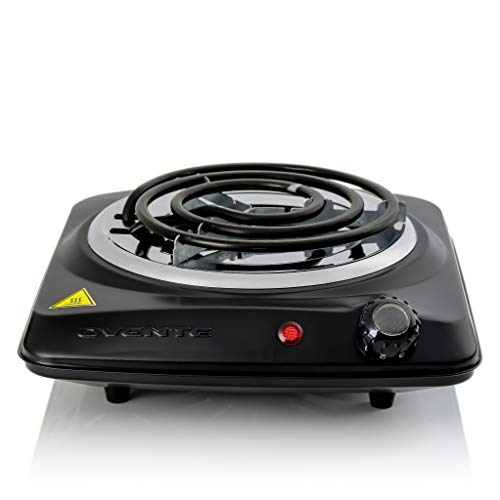 Ovente 6 Inch Single Hot Plate Electric Coil Stove, Portable 1000 Watt Cooktop Countertop Kitchen Burner with Adjustable Temperature Control & Stainless Steel Base, Compact Easy Clean, Black BGC101B