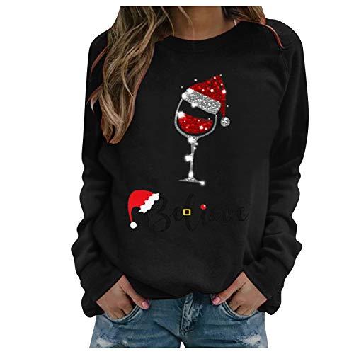 FeelFree+ Sudadera de Navidad para mujer Jersey casual Copa de vino Impresión Otoño e invierno Vintage informal blusa tops Casa modern manga larga Cuello Redondo suelta Tops suéter