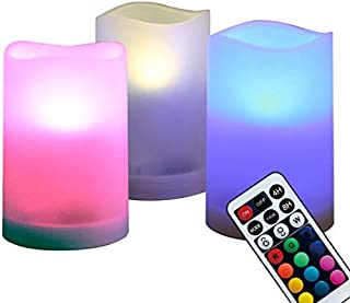 WRalwaysLX Flameless Plastic Pillar Candles Outdoor and Indoor Decorative, Color Changing LED Flickering Candles with Remote Control and Timer, Set of 3, 2.5
