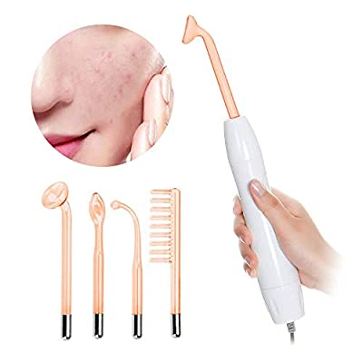 Nmeisi 4 in 1 Handheld High Frequency Facial Machine w/Neon, Portable Skin Tightening Wand Skin Care Wand for Dark Circles, Puffy Eyes