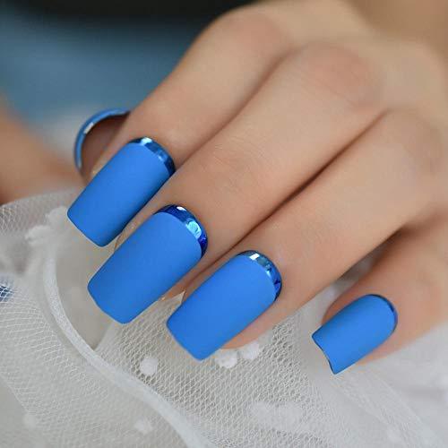 TJJL Faux ongles Carré Mat Français Moyen Faux Ongles Bleu Ciel En Métal Bord Garniture Doigts Ongles Mash Up Art Artificiel Pour L'usage Quotidien Ongles