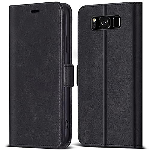 ZONNAVI Cover per Samsung Galaxy S8, Flip Caso in PU Pelle con [Slot per Schede] [Kickstand] [Magnetica], Premium Portafoglio Custodia per Samsung Galaxy S8 (Nero)
