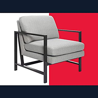 Tommy Hilfiger Russell Mid-Century Accent Chair, Metal Frame, Modern Upholstered Style, Light Gray