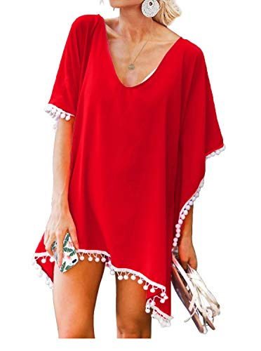 Women's Pom Pom Trim Kaftan Stylish Chiffon Swimwear Beach Cover Up Free Size Red
