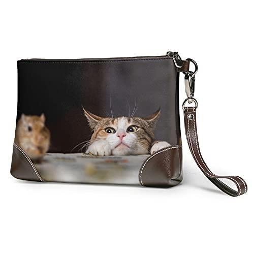 MGBWAPS Gato foto embrague, bolso de embrague de cuero, bolso cosmético, bolso de embrague pulseras, (Como se muestra), Talla única