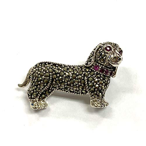 Art Deco Style Dachshund Dog Pin Brooch with Marcasite and Ruby Stone 925 Sterling Silver