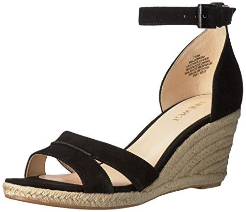 NINE WEST Women's Jabrina Suede Wedge Sandal, Black, 10.5
