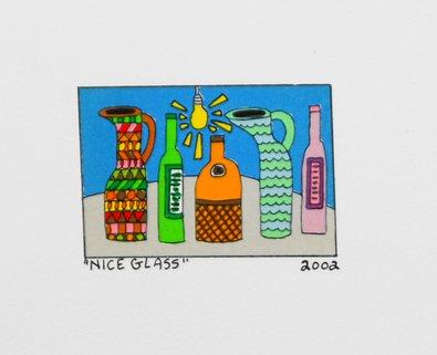 James Rizzi Nice Glass Poster Bild Lithografie Kunstdruck 12x15cm