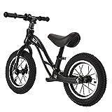 GASLIKE Bicicleta de Equilibrio para niños, sin Pedales, Ruedas de 12/14 Pulgadas, Asiento Ajustable, Primera Bicicleta para niños de 2-8 años de Edad, Estable y Segura,B 12inch Black