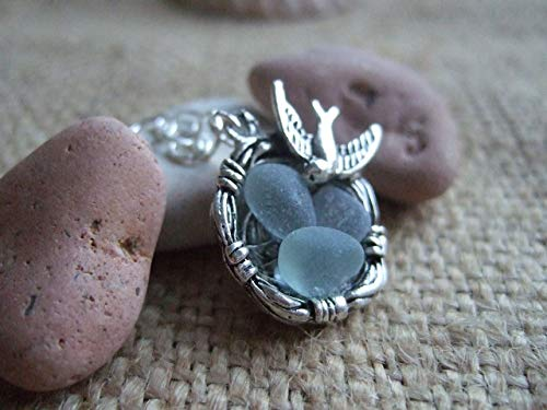 Birds Nest Pendant with White Sea Foam Mix Sea Glass, Beach Glass Nest Necklace, Antique Silver