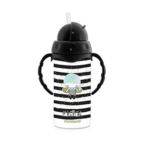 Miniland - Botella Termo con pajita de silicona y asas. 240ml.