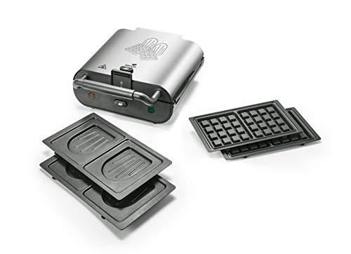 Senya Silver an Gaufrier Appareil à croque-Monsieur 2 en 1 Duo Waffles, Jeux de 2 plaques interchangeables au revêtement antiadhésif, 800W SYCK-WM003S