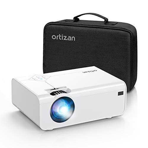 Proiettore portatile 1080P Full HD 5500 lumens, Mini proiettore portatile Sincronizzazione 1080P Full HD 180  Display Home Cinema Compatibile con USB HDMI AV SD con custodia per il trasporto bianca