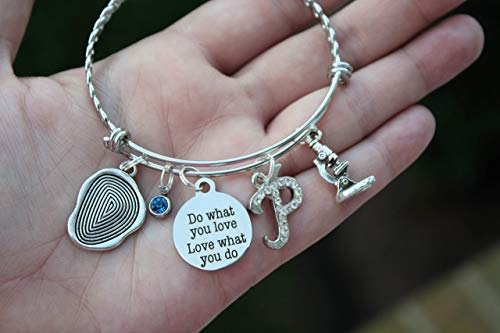 Do what you love love what you do Forensic Science Investigator Bangle Bracelet with Choice of Initial and Birthstone Charm Fingerprint and Microscope Charm