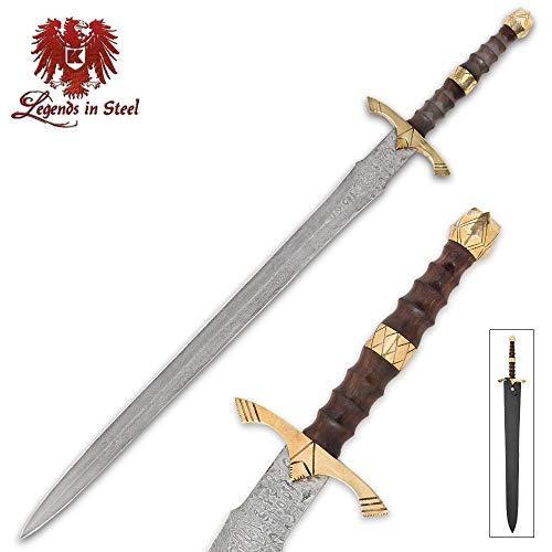 K EXCLUSIVE Legends in Steel Brass, Heartwood and Damascus Steel Sword