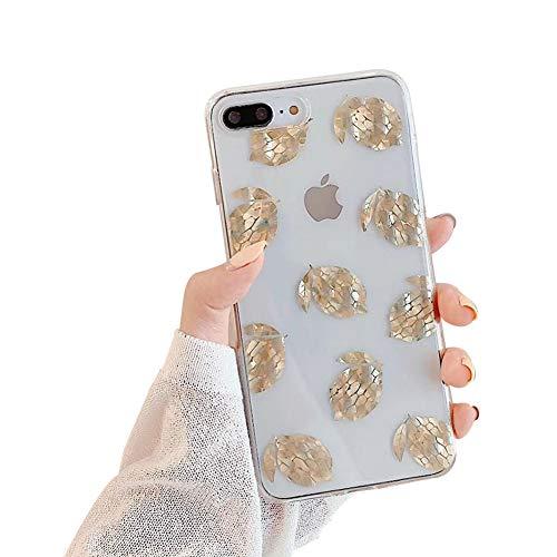 QfireQ beschermhoes voor iPhone X/iPhone X/iPhone XS, glanzend, goudkleurige folie, transparant, schokbestendig, helder