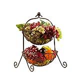 SCJ Escurridor de Canasta de Frutas de Hierro de Metal de 2 Niveles Plato de Fruta Torta Bocadillos de Dulces Canasta de Frutas secas, Durable, No se oxida, Bronce