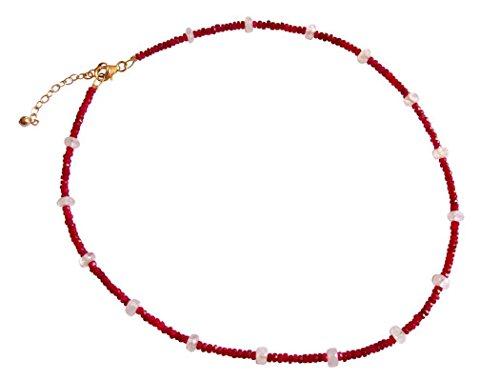 Gemshine - Damen - Halskette - Vergoldet - Rubin - Rot - Mondstein - Weiß - Facettiert - 45 cm