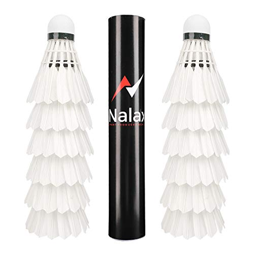 Badminton Birdies12-Pack Professional Duck Feather Badminton Shuttlecocks Feather Ball with Great Durability Stability and Balance,Suitable for Professional Training Or Family Outdoor Sports