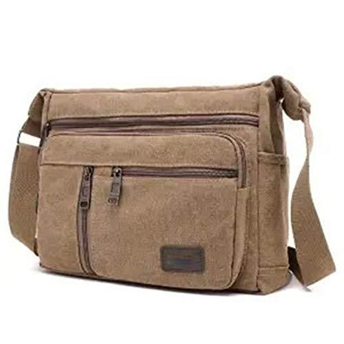 HHTD Bolsa de Mensajero para Hombres, Bolso de Lona, maletín del portátil, Bolsa de Hombro (Color : Brown)
