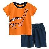Bebé Niño Camisetas Pantalones Cortos Conjuntos, Manga Corta Algodón Dinosaurio Dibujos Animados Excavador Estampada Deporte Cumpleaño Tops Verano Casual Cuello Pijama (Naranja, 5-6 años)