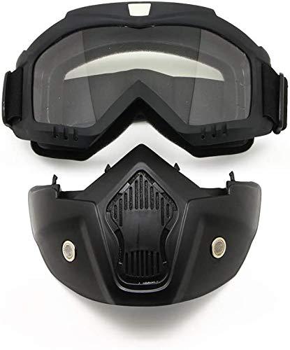 YIQI Maschera per Occhiali da Moto con Maschera Rimovibile, Occhiali Rimovibili a Prova di Nebbia Caldi Filtro per la Bocca Cinturino Antiscivolo Regolabile (Montatura Nera, Lente Trasparente)