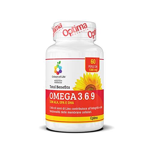 Colours of Life Omega 3,6,9 Total Benefits - Integratore di Omega 3, 6 e 9 - con Oio di Pesce, Olio di Semi di Lino e di Girasole - Senza Glutine, 60 Perle