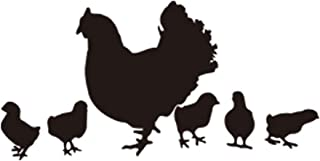 DNVEN 29 inches x 14 inches Farm Happy Chicken Hen Had Chicks Walking DIY Animals Wall Decals For Home Decor Stickers For Living Room Bedroom Kid's Room Nursery