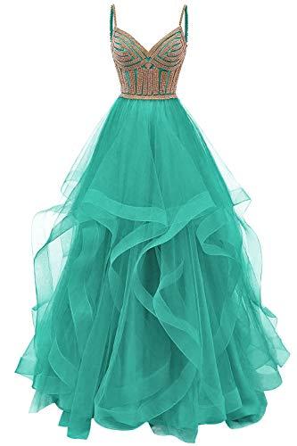 Abendkleid Elegant Damen Hochzeitskleid Prinzessin Ballkleid Mädchen Abschlussballkleid A-Linie V-Ausschnitt Türkis 32