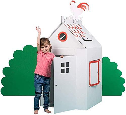 Bibabox Bastelkarton Spielhaus Papphaus Pappspielhaus, stabile weiße Pappe, 120 x 70 x 66 cm