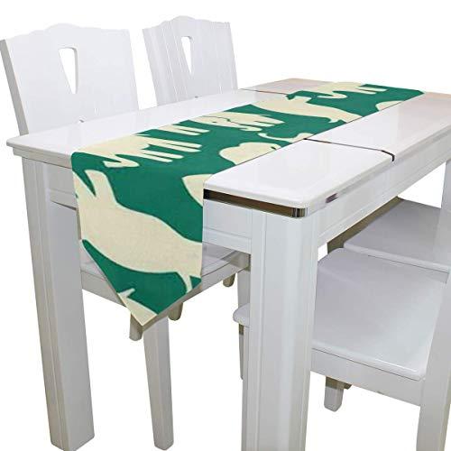 N/A Eettafel Runner Of Dresser Sjaal, Indiaas Dier Olifant Deck Tafelkleed Runner Koffie Mat voor Bruiloft Partij Banket Decoratie 13x90IN