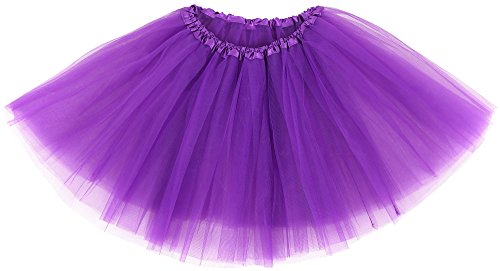 Simplicity Women's Classic Elastic 3 Layered Tulle Running Tutu Skirt, Purple