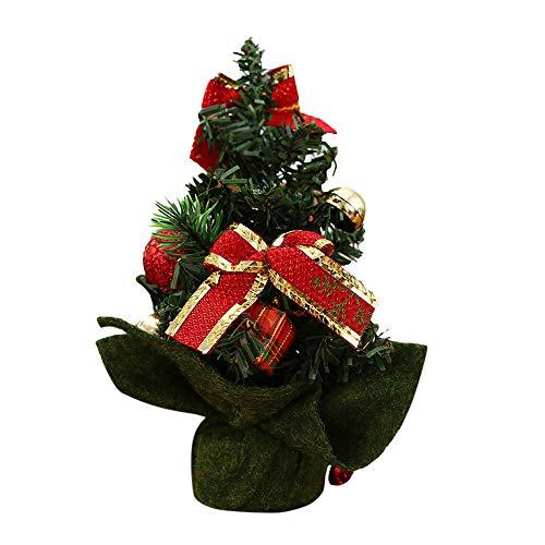 OverDose Boutique Klein Weihnachtsbaum Weihnachts Desktop Dekorationen Weihnachtsbaumschmuck Weihnachtsdeko Saisonale Deko Baumschmuck mit Gefälschte Blume und Weihnachtskugel