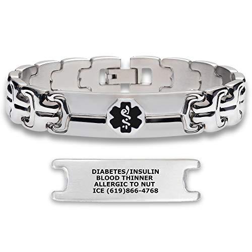 Divoti Deep Custom Laser Engraved Double Ridge Link 316L Stainless Steel Medical Alert ID Bracelet for Men with Free Engraving - Black-8.5'