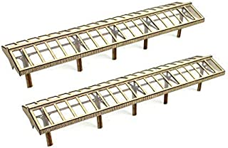 War World Scenics Model Railway Station Canopies with Glass-Effect Roof x 2– OO Gauge 1:76 Scale MDF Trackside Track Rail ...
