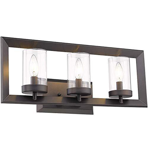 CattleBie 3-Luz Espejo de baño accesorios ligeros, Acabado Negro con vidrio transparente, Pantallas de iluminación, lámpara de interior moderno pared Linterna, Luz de montaje en pared apliques E14 for