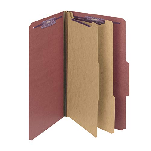 Smead Pressboard Classification File Folder with SafeSHIELD Fasteners, 2 Dividers, 2' Expansion, Legal Size, Red, 10 per Box (19075)