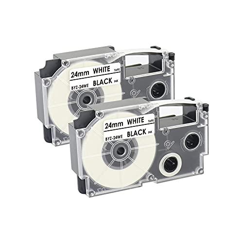 カシオ ネームランド 24mm 互換 カシオ ネームランド テープ 白地黒文字 CASIOテープカートリッジ BYZ-24WE 対応型番 KL-TF7 KL-8500 KL-9000 KL-A300C KL-A40 2個セット
